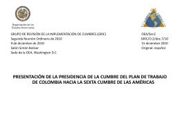 PLAN DE TRABAJO VI CUMBRE DE LAS AMÉRICAS Cartagena de