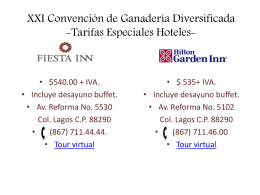 XXI Convención e Ganadería Diversificada -Tarifas Hoteles-