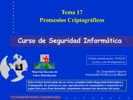 Tema 17 Protocolos Criptográficos Curso de Seguridad Informática