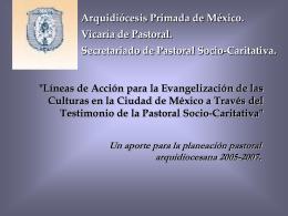 """""""Líneas de Acción para la Evangelización de las Culturas en la"""