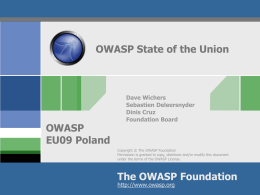 AppSecEU09_OWASP_State_of_the_Union_v3