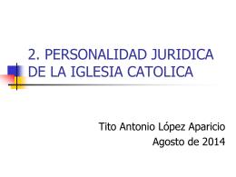 personalidad jurídica tiene la Iglesia Católica