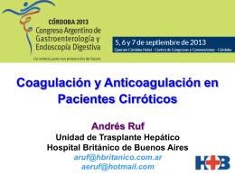 Coagulación y anticoagulación en pacientes Cirróticos. Exposición