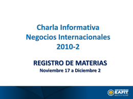 Presentación registro de materias 2010-2