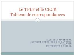 Le TFLF et le CECR Tableau de correspondances