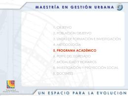 Programa Académico Maestría en Gestión Urbana