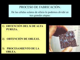 FABRICACION CELLS DE Si - Proyecto de Energía Renovable