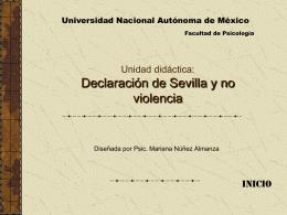 Unidad didáctica: Declaración de Sevilla y no violencia
