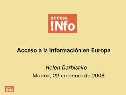 Acceso a la información en Europa Helen Darbishire