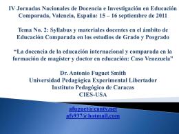 La docencia de la educación internacional y comparada en la