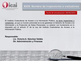 XXIX. Nombre de Inspectores o visitadores