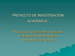 PROYECTO DE INVESTIGACIÓN ACADÉMICA