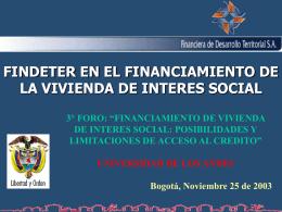 FINDETER EN EL FINANCIAMIENTO DE LA VIVIENDA