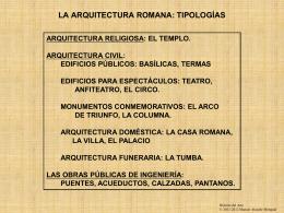 Arquitectura romana, tipologías - Historia