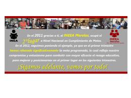 En el 2011 gracias a ti, el INEEA Morelos, ocupó el 2 Lugar a Nivel