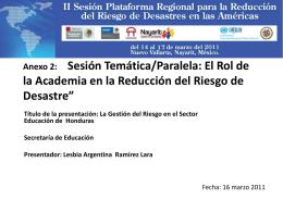 La Gestión del Riesgo en el Sector Educación de Honduras