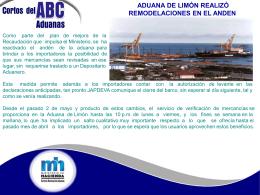 Aduana de Limón realizo remodelaciones en el Anden