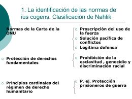 1. La identificación de las normas de ius cogens. Clasificación de