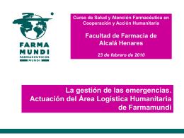FARMACEUTICOS MUNDI la ONG del medicamento