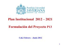 Formulacion Proyecto.. - Pontificia Universidad Javeriana, Cali