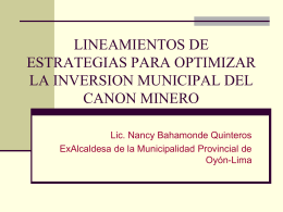 lineamientos de estrategia para optimizar la inversion municipal del