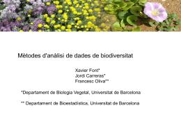 Diapositiva 1 - Banc de dades de Biodiversitat