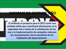 informe de gestion año 2011 - Instituto de Transito de Boyacá ITBOY