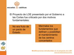 Modificaciones introducidas en el proyecto de LOE