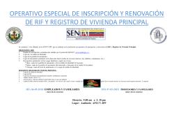 OPERATIVO ESPECIAL DE INSCRIPCIÓN Y RENOVACIÓN DE RIF Y VIVIENDA