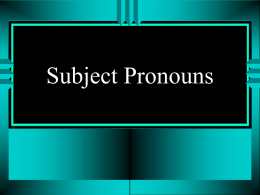 Subject Pronouns - FunSpanishlearning