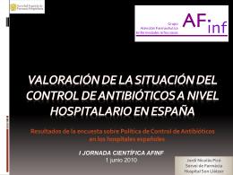 Situación del Control de Antibióticos en España Dr.Jordi Nicolas