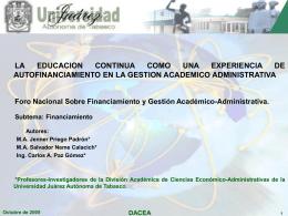 Presentación - foros nacionales de financiamiento anuies