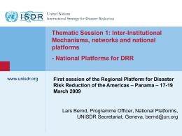 Mecanismos Interinstitucionales, Redes y Plataformas Nacionales