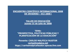 Prospectiva, Políticas Públicas y Educación
