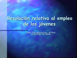 Resolución relativa al empleo de los jóvenes ppt