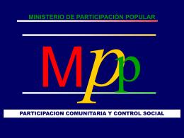 Ministerio de Participación Popular Propuesta Lineamientos
