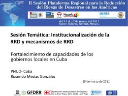 Fortalecimiento de capacidades de los gobiernos locales en Cuba