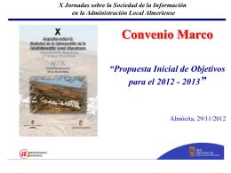 """Convenio Marco """"Propuesta Inicial de Objetivos para el 2012"""
