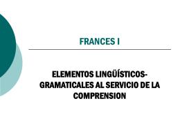 Presentación Francés I: Elementos linguístico