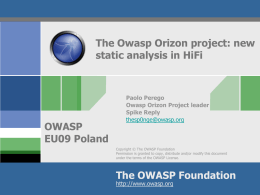 AppsecEU09_owasp_orizon_new_static_analysis_in_HiFi_