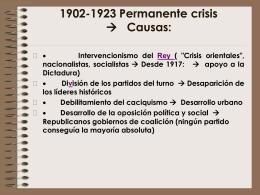 1902-1923 Permanente crisis à Causas:
