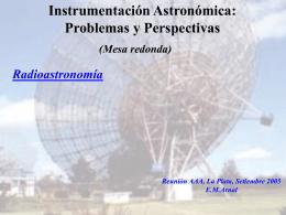 Instrumentación Astronómica: Problemas y Perspectivas