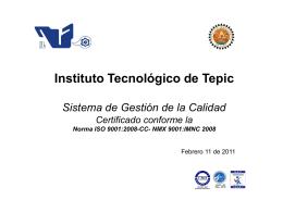 presentacion del SGC - Instituto Tecnológico de Tepic