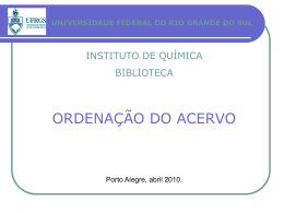ordenação do acervo - Instituto de Química