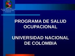 programa de salud ocupacional - Universidad Nacional de Colombia