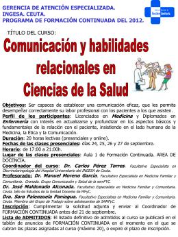 Comunicación y habilidades relacionales en Ciencias de la Salud