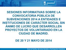 Información convocatoria subvenciones 2014 PPT, 401 Kbytes