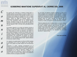 Gobierno mantiene superávit al cierre del 2008