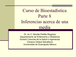 Biostatistics course. Part 8. Inferences of a mean in Spanish
