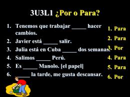 3U3L1 ¿Por o Para?